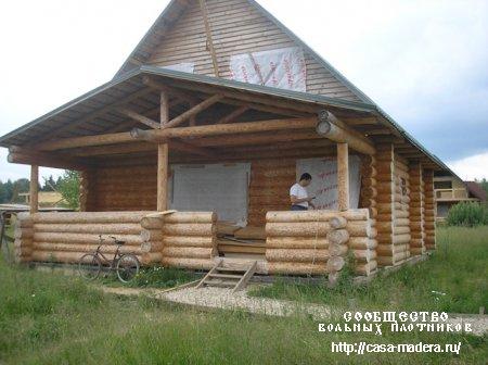 Готовый сруб деревянного дома с участком